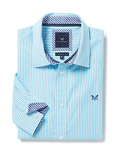 Crew Classic Fit Stripe Shirt in Topaz Blue