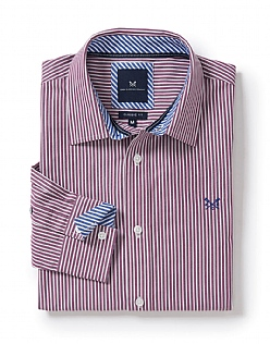Crew Classic Fit Stripe Shirt in Washed Plum