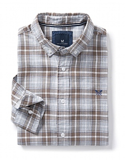Marl Classic Fit Check Shirt in Washed Khaki