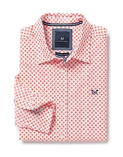 Wansbeck Classic Fit Print Shirt in Papaya Orange