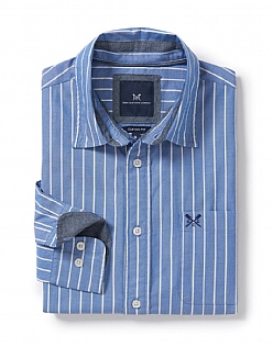 Solway Classic Fit Stripe Shirt in Marine Blue