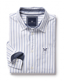 Solway Classic Fit Stripe Shirt in Optic White/Marine