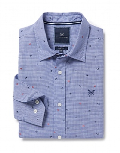 Pagham Slim Fit Print Shirt in Blue