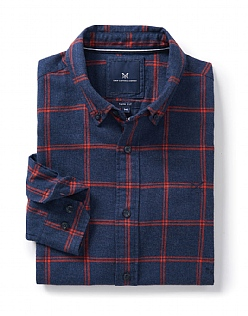 Naseby Slim Fit Check Shirt in Flame Red