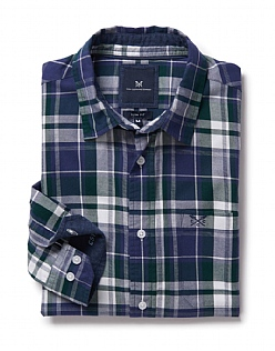 Flannel Slim Fit Check Shirt in Bottle Green