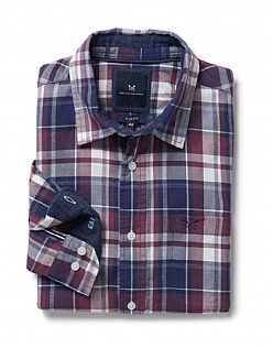 Flannel Slim Fit Check Shirt in Washed Plum