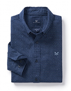 Marl Slim Fit Shirt in Heritage Navy