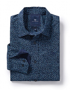 Dot Print Slim Fit Shirt in Heritage Navy