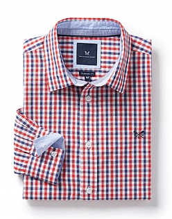 Deben Classic Fit Check Shirt in Flame Red