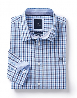 Deben Classic Fit Check Shirt in Sky Blue