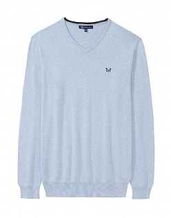 Foxley V Neck Jumper in Classic Blue Marl- Cashmere Blend