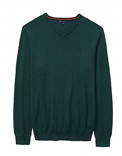 Foxley V Neck Jumper in Bottle Green Marl