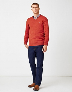 Foxley V Neck Jumper in Flame Red Marl