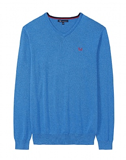 Foxley V Neck Jumper in Lapis Blue Marl