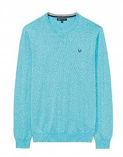 Foxley Crew Neck Jumper in Blue Topaz