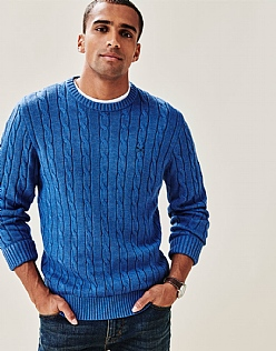 Regatta Cable Crew Neck Jumper in Marine Blue Marl