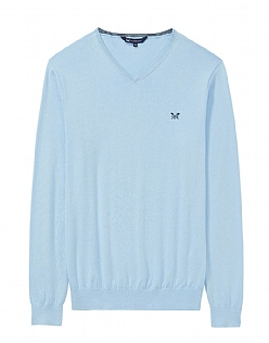 Summer Foxley V Neck Jumper in Cool Blue