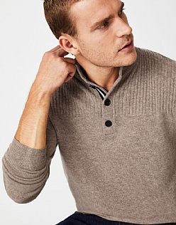 Erndale Half Button Jumper in Hazelnut Marl