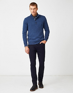Erndale Half Button Jumper in Blue Indigo Marl