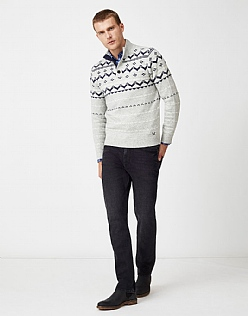 Fairsle Half Button Jumper in Chalk Grey Marl
