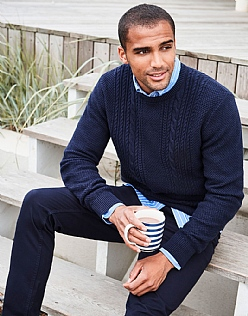 Northam Cable Crew Neck Jumper in Dark Navy