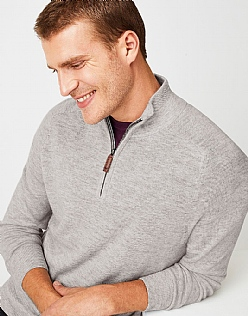 Wool Half Zip Jumper in Chalk Grey Marl