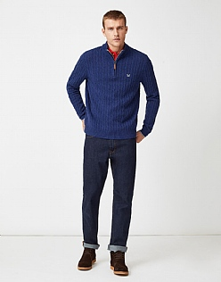 Lambswool Half Zip Jumper in Ultramarine Blue Marl