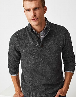 Swithland Nepp Half Button Jumper in Charcoal Grey Marl