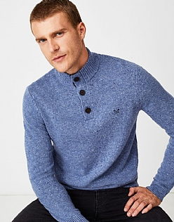 Swithland Nepp Half Button Jumper in Sky Blue Marl