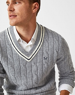 Erme Cricket Jumper in Grey Marl