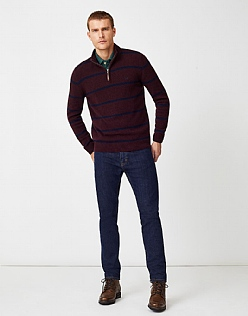 Padstow Half Zip Knit in Fresh Damson Marl