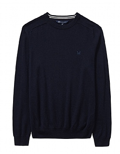 Wool Crew Neck Jumper in Dark Navy