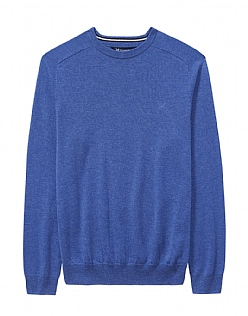Wool Crew Neck Jumper in Ultramarine Blue Marl
