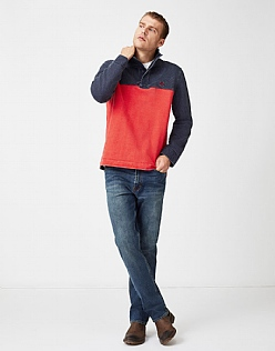 Padstow Pique Sweatshirt in Flame Red