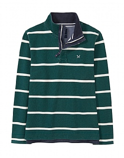 Padstow Pique Sweatshirt in Bottle Green/White Stripe