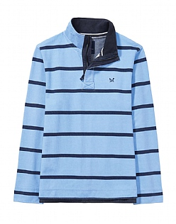 Padstow Pique Sweatshirt in Sky/Navy Stripe