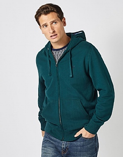 Zip Through Hoodie in Bottle Green