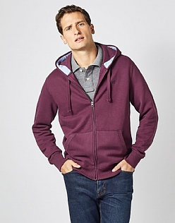 Zip Through Hoodie in Wash Plum
