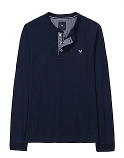 Long Sleeve Henley T-Shirt in Dark Navy
