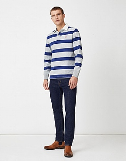 Crew Long Sleeve Rugby Shirt in Indigo