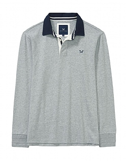 Crew Long Sleeve Rugby Shirt in Mid Grey Marl