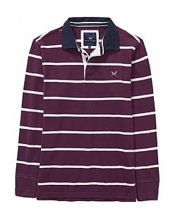 Crew Long Sleeve Rugby Shirt in Washed Plum