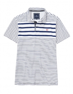 Bridgewater Stripe Polo Shirt in Optic White