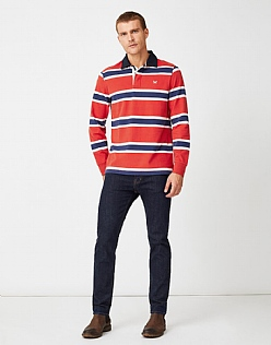 Varsity Stripe Rugby Shirt in Flame Red