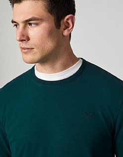 Crew Long Sleeve Classic T-Shirt in Bottle Green
