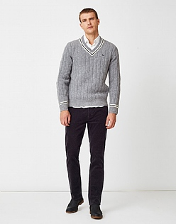 Parker Straight Leg Cord Trouser in Charcoal Grey