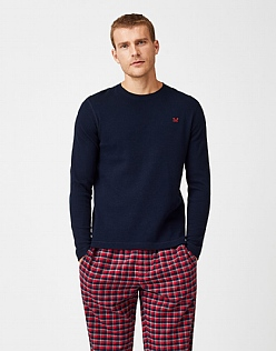 Belmont Long Sleeve Pyjama T-Shirt in Dark Navy