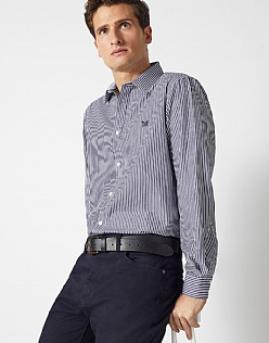 Crew Classic Fit Stripe Shirt in Navy