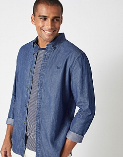 Darwell Denim Slim Fit Shirt in Denim Blue