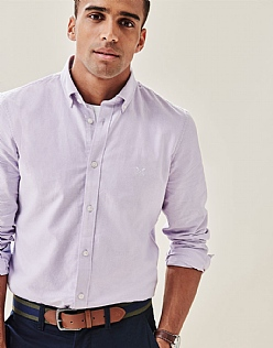 Crew Slim Fit Oxford Shirt in Lilac
